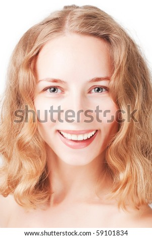 Closeup portrait of fresh beautiful young smiling woman with curls