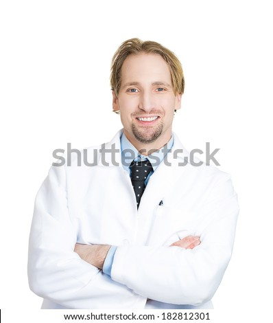 Closeup portrait of friendly, smiling, confident male, man health care professional with arms crossed folded, isolated white background. Patient visit. Positive face expression, attitude - stock photo