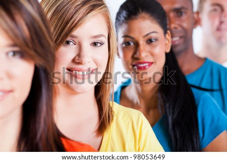 closeup portrait of group young multiracial people