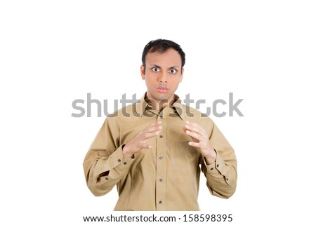 Closeup portrait of guy stunned and shocked in disbelief and disgust, isolated on white background with copy space - stock photo