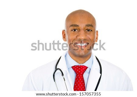 Closeup portrait of handsome confident smiling health care professional or young male doctor or nurse with stethoscope, isolated on white background. Patient visit. Medicaid reimbursement. - stock photo