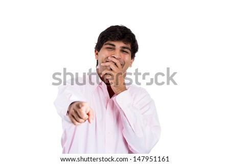 Closeup portrait of handsome excited man happy smile, pointing finger towards at you to the camera gesture,  isolated over white background with copy space - stock photo