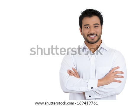 Closeup portrait of handsome happy, young business man, confident student, entrepreneur, arms crossed, isolated on white background. Positive facial expressions, emotions, feelings, attitude. - stock photo
