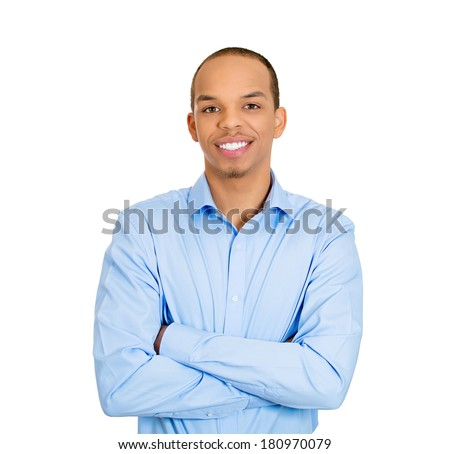 Closeup portrait of handsome happy, young business man, confident student, entrepreneur, arms crossed folded, isolated on white background. Positive face expressions, emotions, feelings, attitude. - stock photo