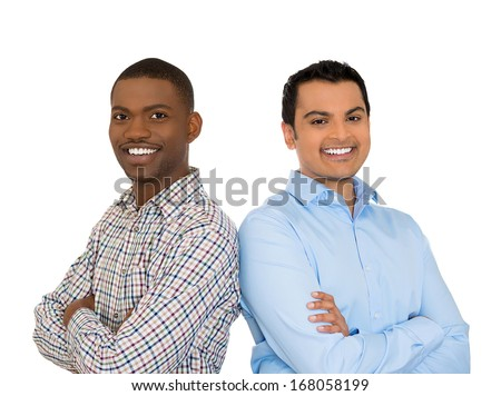 Closeup portrait of handsome happy, young business men, friends, confident students, entrepreneurs, arms crossed, isolated on white background. Positive face expressions, emotions, feelings, attitude.