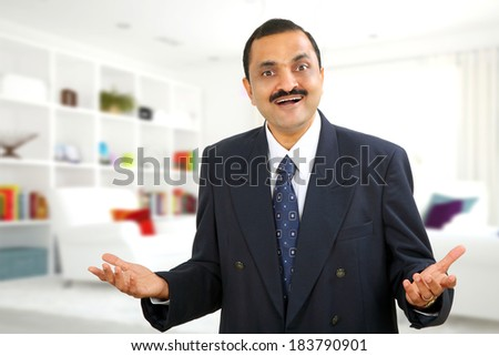 Closeup portrait of handsome man in official dress  looking surprised, shocked, stunned with hands up in air and open mouth, isolated on white background with copy space - stock photo