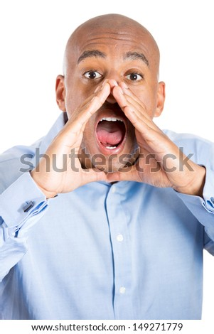 Closeup portrait of handsome man with hands to mouth yelling, isolated on white background