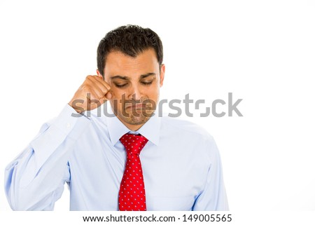 Closeup portrait of handsome many crying, isolated on white background with copy space