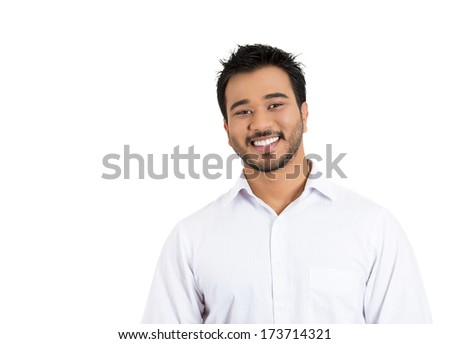 Closeup portrait of handsome, smiling, successful young business man, student, worker, employee, isolated on white background. Positive human emotions facial expressions, feelings, attitude perception - stock photo