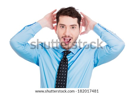 Closeup portrait of handsome, startled, surprised, shocked, stunned young man, in full disbelief, hands on head, isolated on white background. Human face expressions, emotions, reaction, perception - stock photo