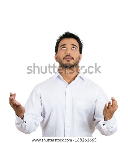 Closeup portrait of handsome, young man in meditation zen mode, isolated on white background. Stress relief techniques concept. Positive human emotions, facial expression feelings, signs, symbols - stock photo
