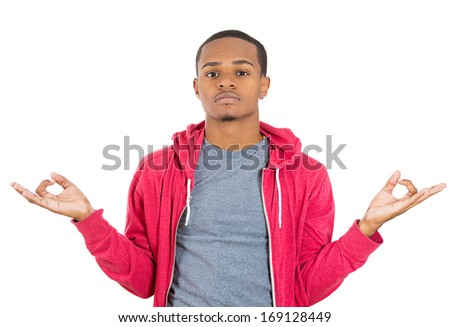 Closeup portrait of handsome, young man in meditation zen mode open eyes, isolated on white background. Stress relief techniques concept. Positive human emotion facial expressions signs, feelings - stock photo