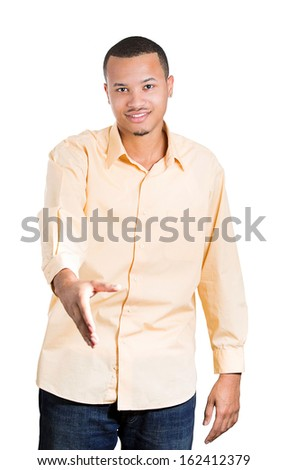 Closeup portrait of handsome young smiling man giving extending for handshake at camera gesture isolated on white background with copy space. Positive human emotions, signs, facial expressions. - stock photo