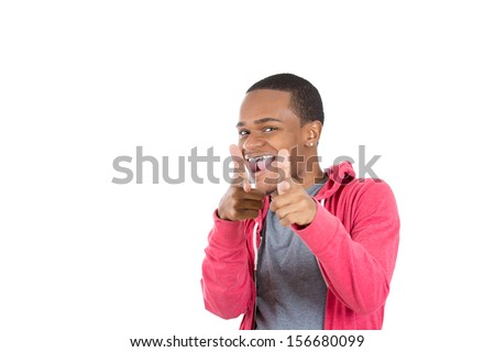 Closeup portrait of handsome young smiling man in red hoody pointing at you isolated on white background with copy space. Positive human emotions and signs. - stock photo