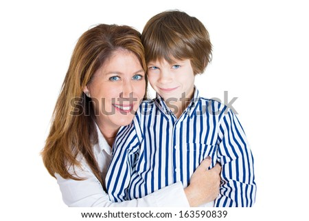 Closeup portrait of happy attractive mother and handsome son smiling - isolated over a white background  - stock photo
