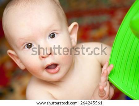 closeup portrait of happy baby - stock photo