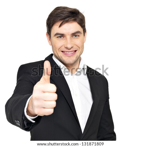 Closeup portrait of happy businessman shows thumbs up isolated on white background. - stock photo