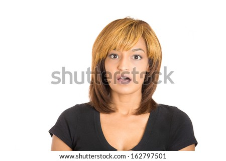 Closeup portrait of happy cute young beautiful woman looking shocked surprised disbelief, isolated on white background copy space left. Positive human emotions and facial expressions - stock photo