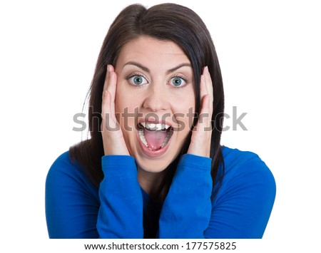 Closeup portrait of happy cute young beautiful woman looking shocked surprised in full disbelief hands on face, screaming isolated white background. Positive human emotion facial expression feelings - stock photo