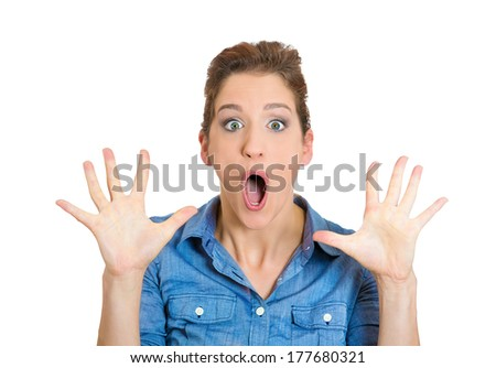 Closeup portrait of happy cute young beautiful woman looking shocked surprised in full disbelief hands in air, screaming isolated on white background. Positive human emotion facial expression feelings - stock photo