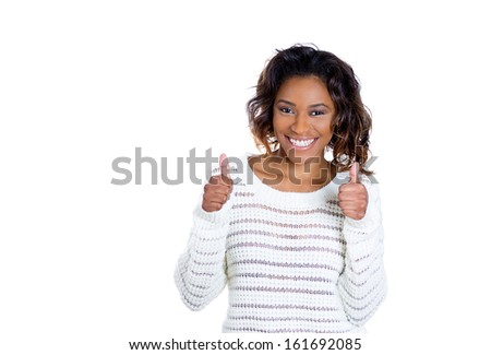Closeup portrait of happy, excited woman giving two hands thumbs up sign, isolated on white background with copy space. Positive emotion facial expressions and symbols - stock photo