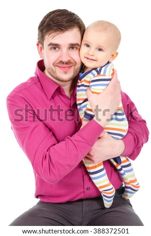 Closeup portrait of happy father with a little baby boy infant isolated on a white background - stock photo