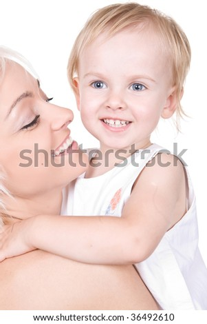 closeup portrait of happy mother with cute yonge girl  isolated on white