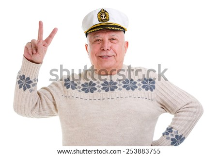 Closeup portrait of happy old man showing two fingers,victory sign, positive or peace gesture. isolated on white background - stock photo