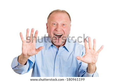 Closeup portrait of happy, senior mature man looking shocked surprised, hands in air to say stop, open mouth eyes, isolated on white background. Positive human emotion facial expression feeling - stock photo