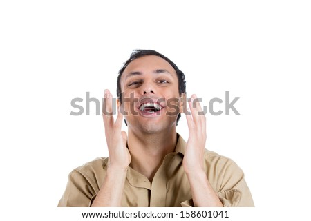 Closeup portrait of happy, surprised handsome guy with hands in front of face, isolated on white background - stock photo