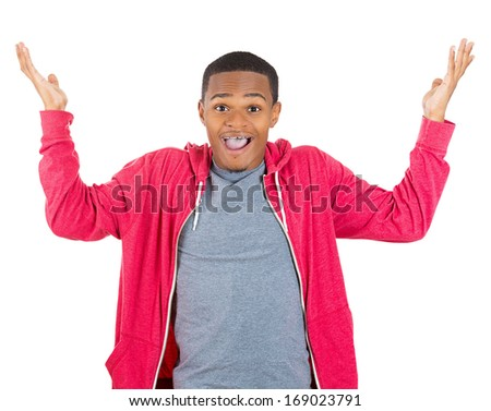 Closeup portrait of  happy young handsome man looking shocked surprised in full disbelief hands in air open mouth eyes, isolated on white background. Positive human emotion facial expression feeling - stock photo