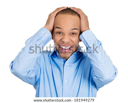 Closeup portrait of happy young handsome man looking shocked surprised in full disbelief hands on head open mouth eyes, isolated on white background. Positive human emotion facial expression feeling - stock photo