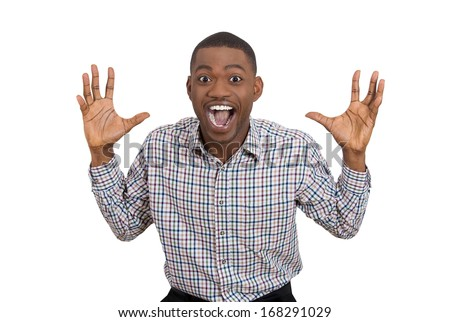 Closeup portrait of happy young man wide open mouth looking shocked surprised in full disbelief hands in air, isolated on white background. Positive human emotion facial expression feeling, attitude - stock photo
