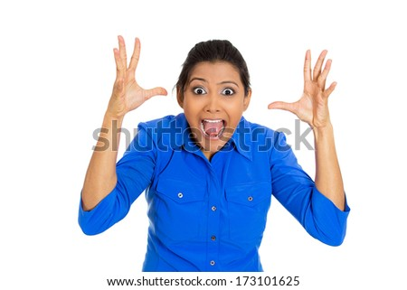 Closeup portrait of happy young pretty woman looking shocked surprised in full disbelief hands in air, open mouth, isolated on white background. Positive emotion facial expression feeling, attitude - stock photo