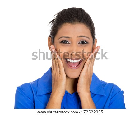 Closeup portrait of happy young pretty woman looking shocked surprised in full disbelief hands on cheeks, open mouth, isolated on white background. Positive emotion facial expression feeling, attitude - stock photo