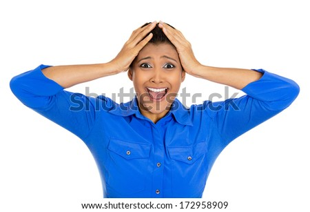 Closeup portrait of happy young pretty woman looking shocked surprised in full disbelief hands on face, open mouth, isolated on white background. Positive emotion facial expression feeling, attitude - stock photo