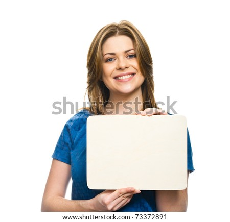 Closeup portrait of happy young woman holding empty sheet . Isolated on white background - stock photo