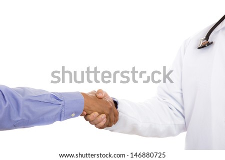 Closeup portrait of healthcare professional or nurse or doctor or dentist shaking hands with patient, isolated on white background with copy space - stock photo