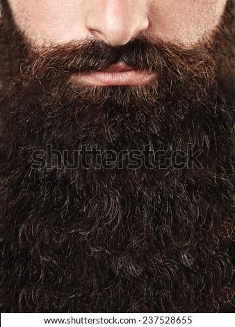 Closeup portrait of long beard and mustache man - stock photo