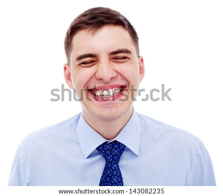 Closeup portrait of loudly laughing business man. Isolated on white background, mask included - stock photo