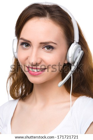 Closeup portrait of lovely young woman talking to customers as a consultant using headset, isolated over white - stock photo