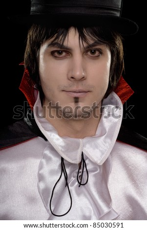 Closeup portrait of man in a suit of Count Dracula - stock photo
