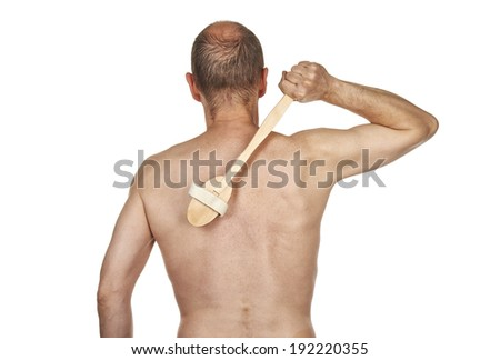 Closeup portrait of man in the bath against white background - stock photo