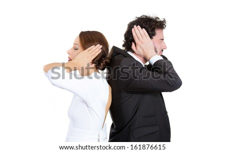 Closeup portrait of man woman couple standing with backs together covering ears, closed eyes, not listening to each other isolated on white background. Negative human emotions facial expressions - stock photo