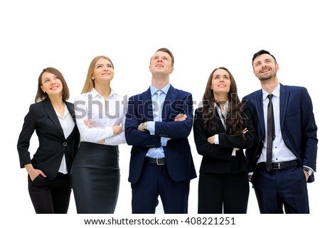 Closeup portrait of many men and women smiling and looking upwards - stock photo