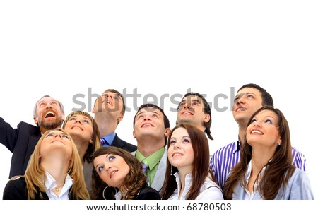 Closeup portrait of many men and women smiling and looking upwards