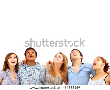 CLoseup portrait of many men and women smiling and looking upwards against white background - stock photo