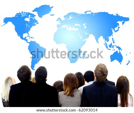 Closeup Portrait of many people and the women looking on map - stock photo