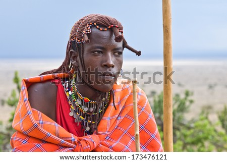 Closeup portrait of Masai man