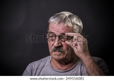 closeup portrait of old man - stock photo